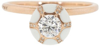 Selim Mouzannar 18kt Rose Gold Diamond And Ivory Enamel Round Ring