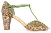 Anniel Sale - Glitter and Suede T-Bar Shoes with Heels