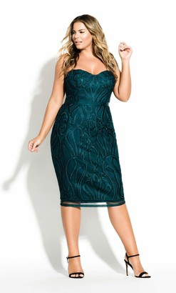 City Chic Antonia Dress in Green Size 14/X-Small