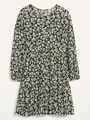 Old Navy Floral-Print Long-Sleeve Swing Dress for Women
