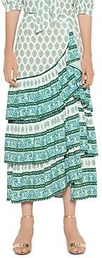 Sandro Naemi Printed Ruffled Skirt