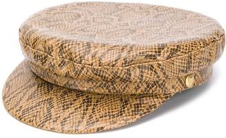 Manokhi snakeskin-print Greek Fisherman hat
