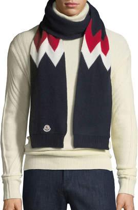 Moncler Men's Chevron-Knit Wool Scarf