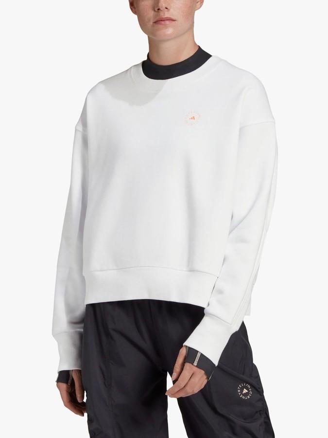 adidas by Stella McCartney Crew Neck Logo Sweatshirt, White