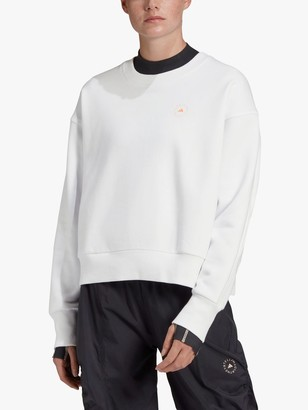 adidas by Stella McCartney Crew Neck Logo Sweatshirt, White