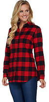 Denim & Co. Plaid Yarn Dyed ButtonFront Shirt