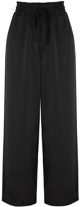 Clu Black Wide-leg Silk Trousers