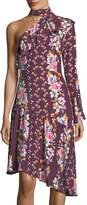 Parker Rine Floral-Printed One-Shoulder Silk Dress