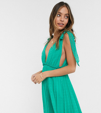 ASOS DESIGN Petite tie shoulder pleated mini dress in emerald green