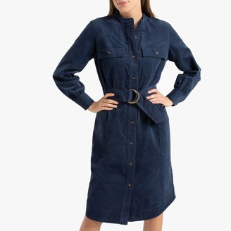 La Redoute Collections Corduroy Utility Midi Shirt Dress with Long Sleeves and Pockets