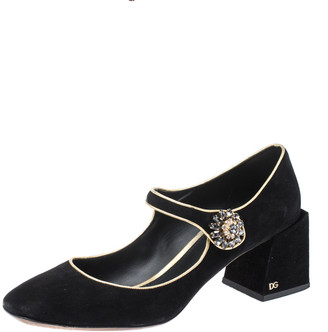 Dolce & Gabbana Black/Gold Crystal Embellished Suede Mary Jane Pumps Size 39.5
