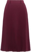 Prada Plissé-twill Midi Skirt - Burgundy