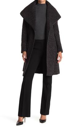 Donna Karan Oversize Wool Blended Hooded Coat