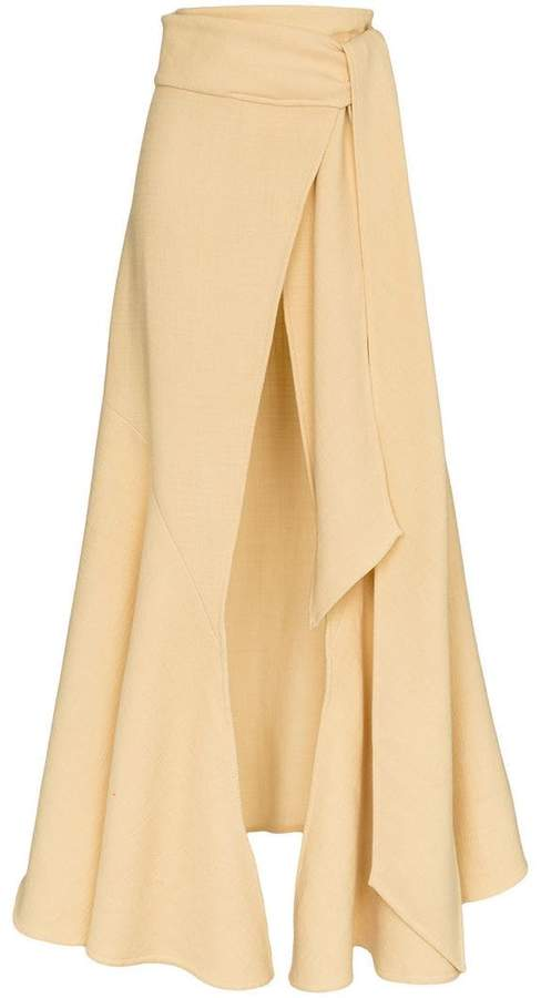 Jacquemus wrap wool blend maxi skirt