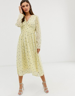 Y.A.S floral long sleeve maxi dress