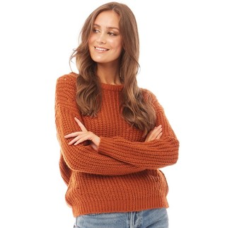 Brave Soul Womens Nero Scoop Jacquard Stitch Jumper Gingerbread