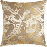 """Square Feathers D'Or Fancy Pillow, 26""""Sq."""