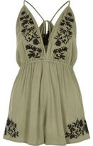 River Island Womens Khaki green floral embroidered romper