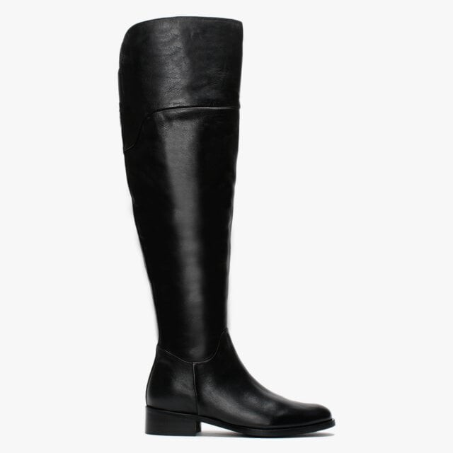 Daniel Sesta Black Leather Over The Knee Boots