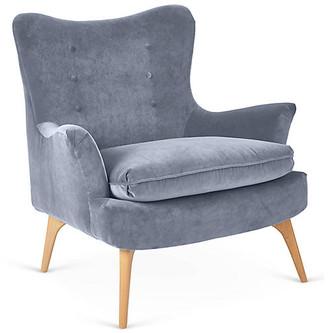 Kim Salmela Sonja Accent Chair - Delft Blue Velvet