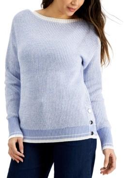 Karen Scott Marled Boat-Neck Sweater, Created for Macy's