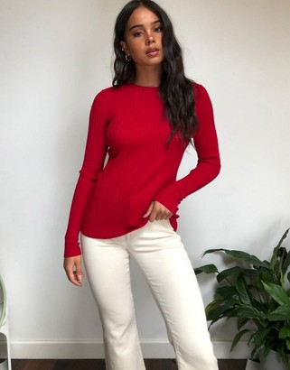 Only natalie long sleeve rib top in red