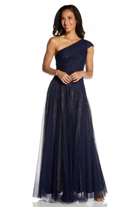 Adrianna Papell Shirred Tulle Gown In Midnight