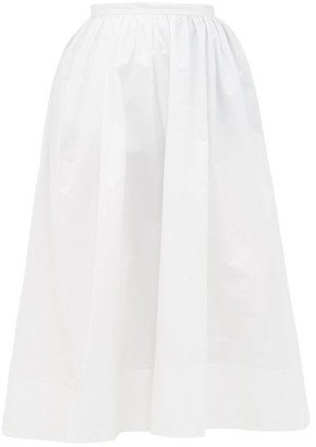 Jil Sander High-rise Organic Cotton-poplin Midi Skirt - White