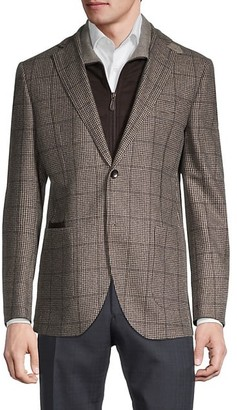 Lubiam Standard-Fit Houndstooth Wool Travel Jacket