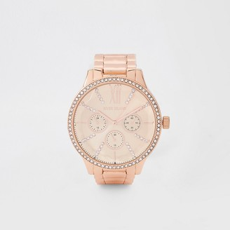 River Island Rose gold colour chain link strap watch