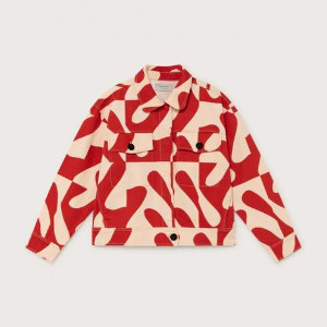 Thinking Mu - Red and White Patterned Jacket in Organic Cotton - Turan - L / Rouge