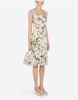 Dolce & Gabbana Lily-Print Cady Sheath Dress With Straps