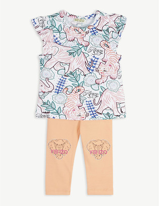 Kenzo Jungle print cotton blend T-shirt and leggings set 6-36 months