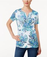 Karen Scott Printed Henley T-Shirt, Only at Macy's