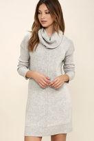 LuLu*s Tea Reader Light Grey Sweater Dress