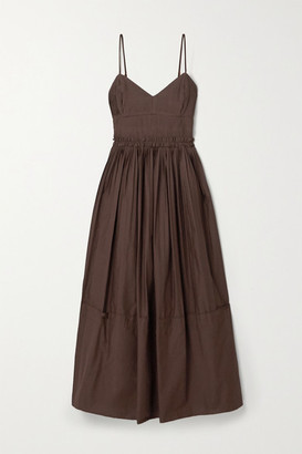 Nicholas Abrielle Pleated Cotton-poplin Maxi Dress - Chocolate