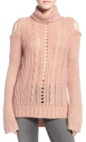 Pam & Gela Women's Cold Shoulder Cable Knit Sweater