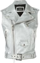 DSQUARED2 metallic biker gilet - women - Lamb Skin/Polyester/Viscose - 38