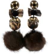 Ranjana Khan Leopard Pom Pom Earrings