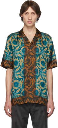 Dries Van Noten Blue Floral Short Sleeve Shirt
