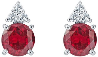 Sterling Silver 7mm Round Simulated Gemstone Earrings