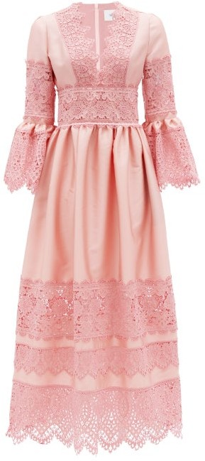 Erdem Irmina Embroidered Mikado-satin Gown - Pink