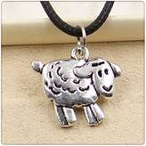 Nobrand No brand Fashion Tibetan Silver Pendant sheep Necklace Choker Charm Black Leather Cord Handmade Jewlery