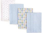 Luvable Friends Blue Flannel Burp Cloths - Set of Four