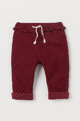 H&M Lined Corduroy Pants - Red