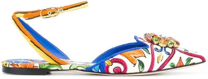 Dolce & Gabbana Bellucci Mejolica print ballerinas