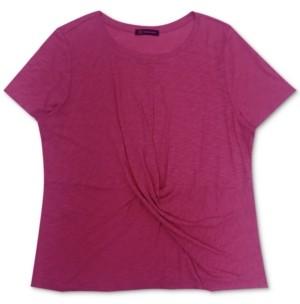 INC International Concepts Inc Plus Size Cotton Twist-Front T-Shirt, Created for Macy's