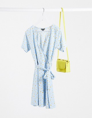 Monki Nora dress with daisy print in blue