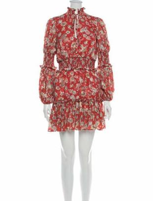 Alexis Floral Print Mini Dress w/ Tags Orange
