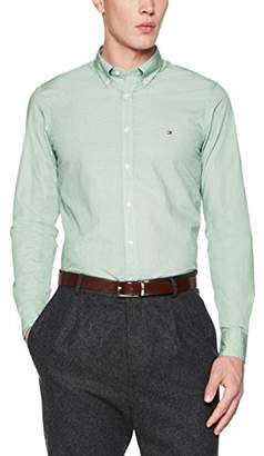 Tommy Hilfiger Men's Triple Square PRT Sf2 Casual Shirt, Green (Verdant/Bright White 904), Large